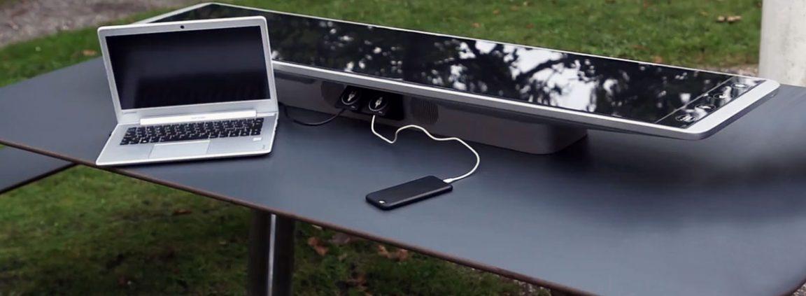 Custom solar bench real life Denmark Metsolar