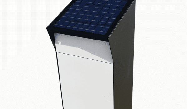 PO box with integrated solar panels for lighting. Metsolar